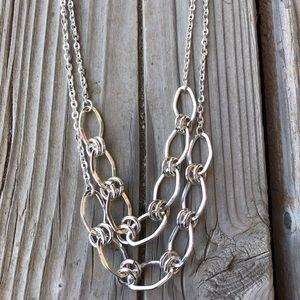 BNWT Silver Banana Republic Double Chain Necklace!